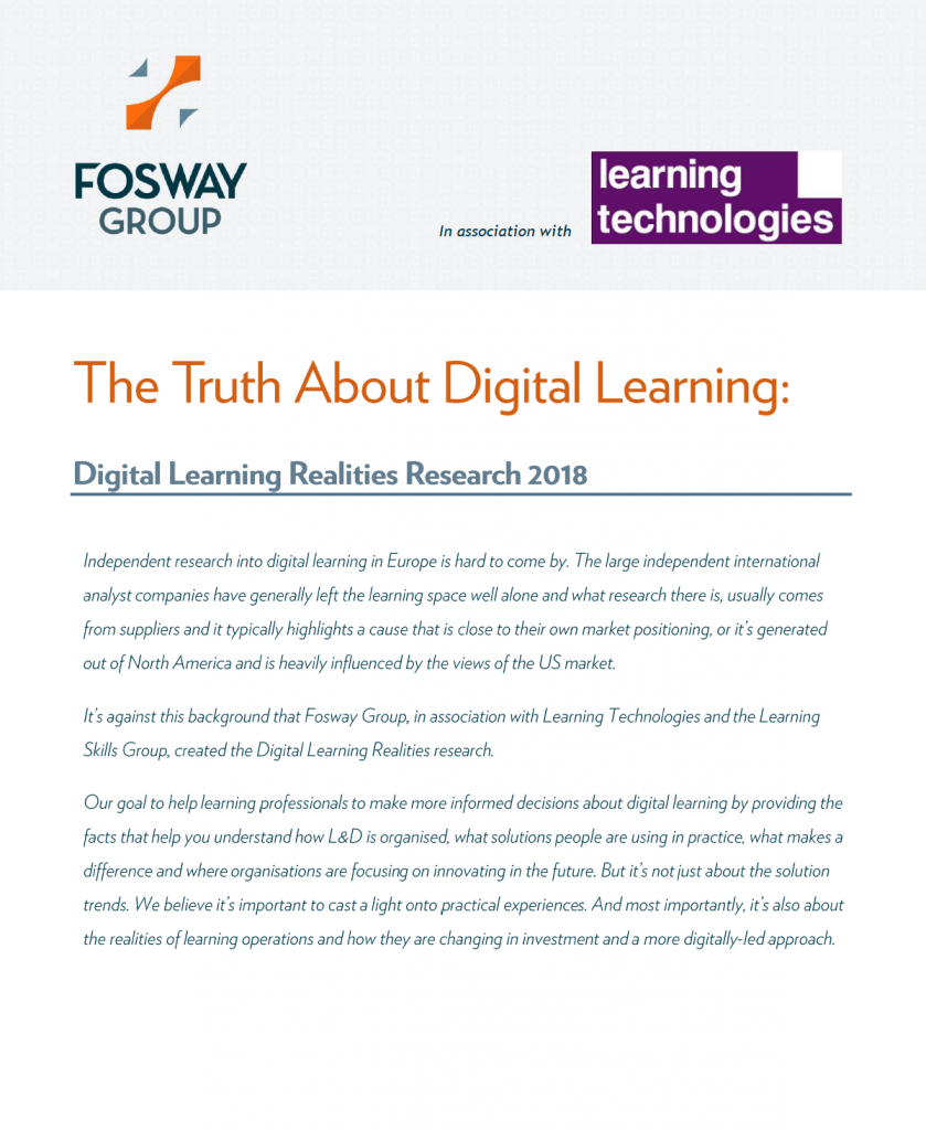 Fosway Learning Technologies Digital Learning Realities Report 2018