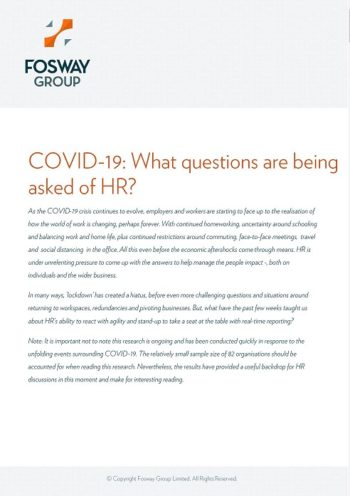 Fosway COVID-19 Research: Impact on HR Report Cover